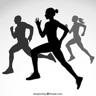 Vielfalt der läufer silhouetten