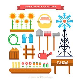 Vielfalt der landwirtschaftlichen elemente in flaches design