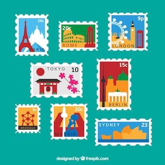 Vielfalt der stadt post briefmarken