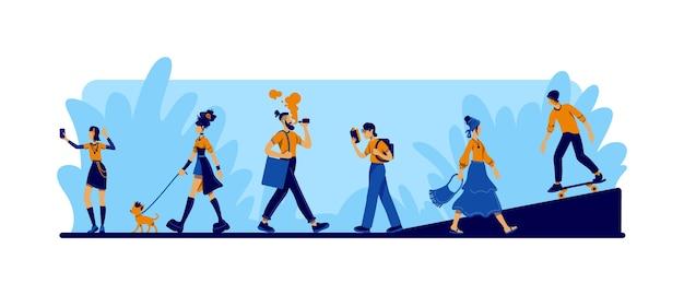 Vielfalt in selbstausdruck 2d-web-banner, poster. mann vaping. boho frau. subkultur flache zeichen auf karikaturhintergrund. druckbare patches für alternativen lebensstil, farbenfrohe webelemente