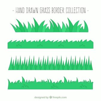 Vielfalt von handgezeichneten gras grenzen