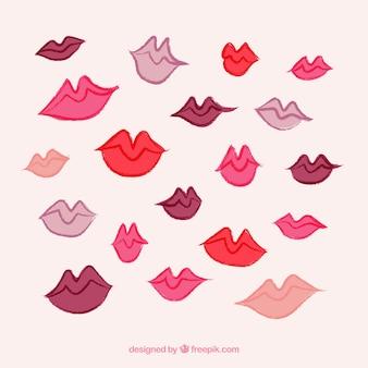 Vielfalt von handgezeichneten lippen