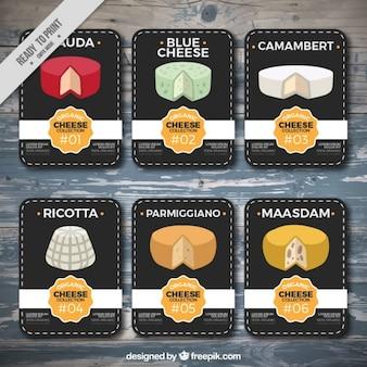 Vielfalt von käse, karten