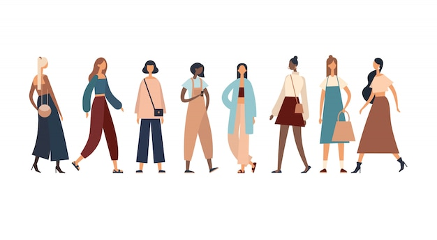 Vielpunktige frauen in stylischen outfits. illustration