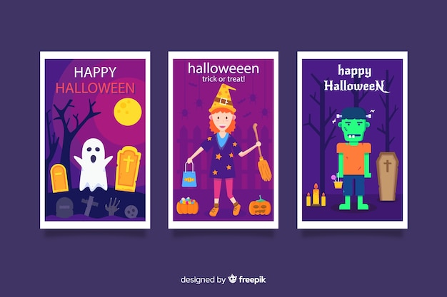 Vielzahl der flachen halloween-kartensammlung