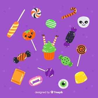 Vielzahl der hand gezeichneten halloween-süßigkeitssammlung