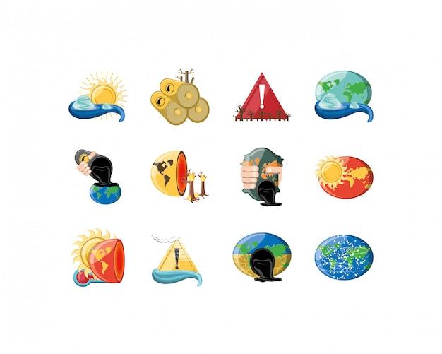Vielzahl umwelt und planet icon set pack