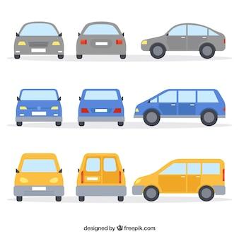 Vielzahl von autos mit flachem design