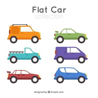 Vielzahl von autos und lieferwagen in flaches design