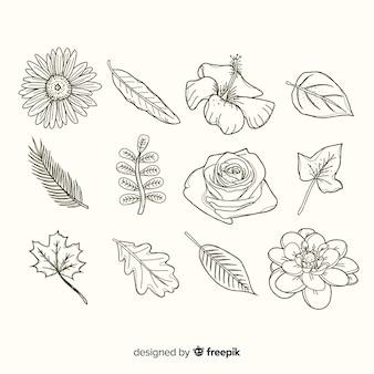 Vielzahl von blüten und blättern