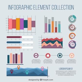 Vielzahl von bunten charts infografiken