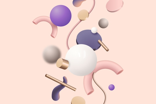 Vielzahl von bunten geometrischen formen auf rosa hintergrund