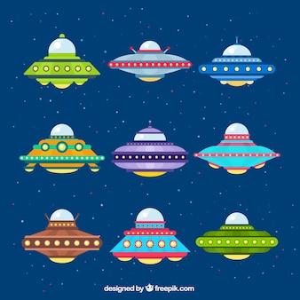 Vielzahl von bunten ufo