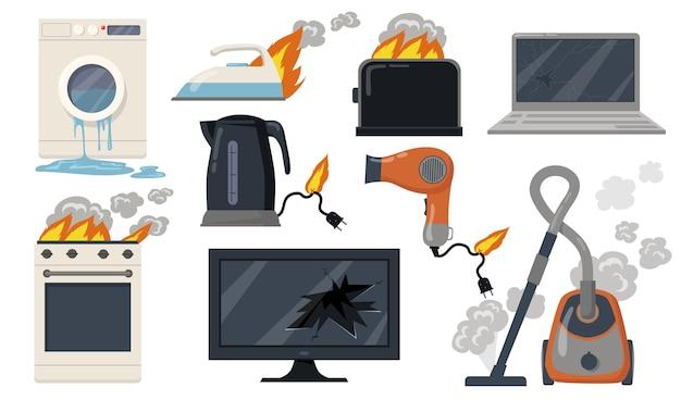 Vielzahl von defekten haushaltselektrogeräten flache artikel set. karikatur beschädigter herd, toaster, staubsauger, isolierte vektorillustrationssammlung des laptops. haushalts- und ausstattungskonzept