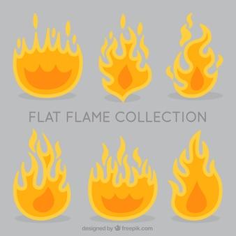 Vielzahl von dekorativen flammen in flaches design