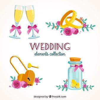 Vielzahl von farbigen Hochzeit Elemente