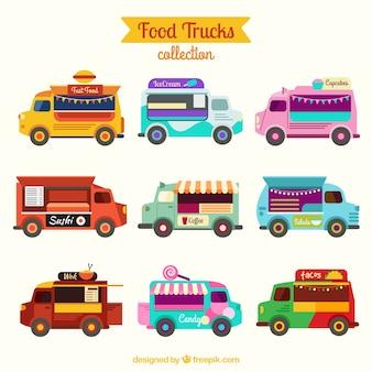Vielzahl von farbigen nahrungsmitteltransporte