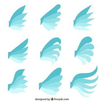 Vielzahl von flachen flügeln in blauen tönen