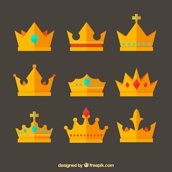 Vielzahl von flachen kronen mit fantastischen design Kostenlosen Vektoren
