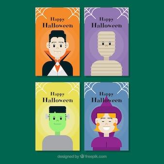 Vielzahl von halloween-karten mit kostümen