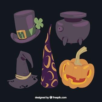 Vielzahl von halloween magischen elementen