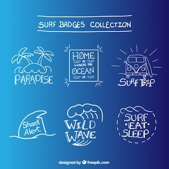 Vielzahl von hand gezeichnet surf-abzeichen