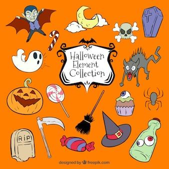 Vielzahl von hand gezeichnete elemente für halloween