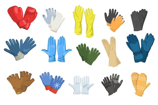 Vielzahl von handschuhen gesetzt