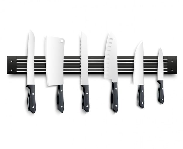 Vielzahl von küchenmessern mit schwarzem griff auf magnetstreifen auf weißer vektorillustration des hintergrundes 3d