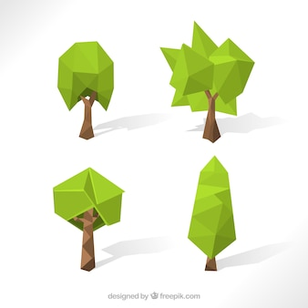 Vielzahl von low-poly bäume