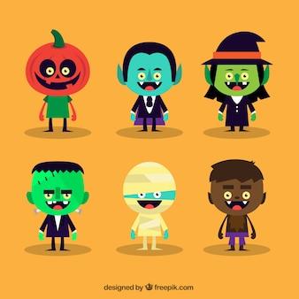 Vielzahl von niedlichen halloween-zeichen