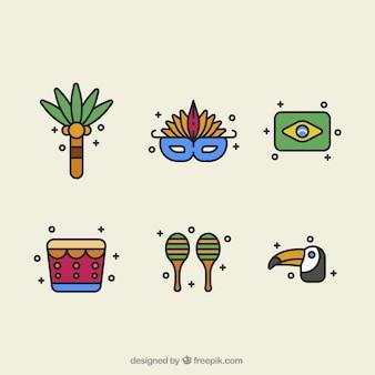 Vielzahl von objekten in flacher bauweise für brasilianische karneval