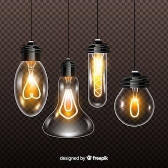 Vielzahl von realistischen glühlampen auf transparentem hintergrund