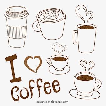 Vielzahl von skizzenhaften kaffeetassen