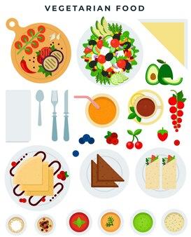 Vielzahl von vegetarischen speisen