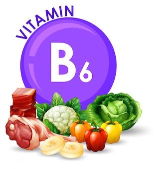 Vielzahl von verschiedenen lebensmitteln mit vitamin b6