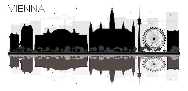 Vienna city skyline schwarz-weiß-silhouette mit reflexionen. vektor-illustration. einfaches flaches konzept für tourismuspräsentation, banner, plakat oder website. stadtbild mit wahrzeichen.
