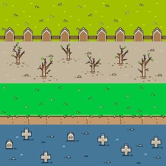 Vier 3d-hintergründe zum erstellen von videospielen