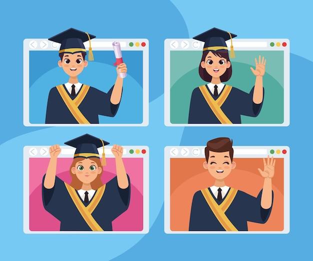 Vier absolventen in webseiten