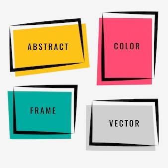 Vier abstrakte farbenfrohe rahmen gesetzt