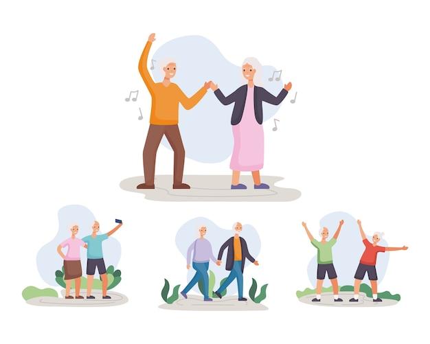 Vier aktive seniorenpaare, die aktivitätencharakter-illustrationsdesign üben