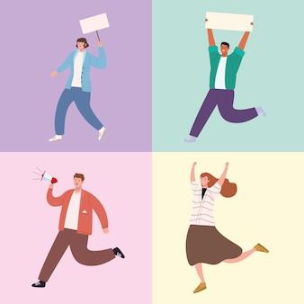 Vier aktivisten-charaktere