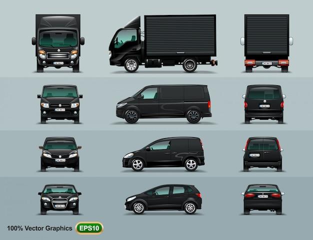 Vier arten von autos in der stadt zu arbeiten.