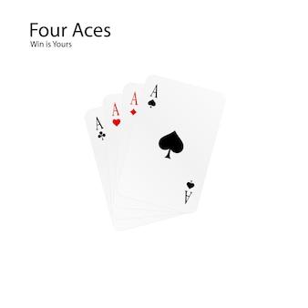 Vier asse - ihre gewinnkombination. kartenspiel - poker.