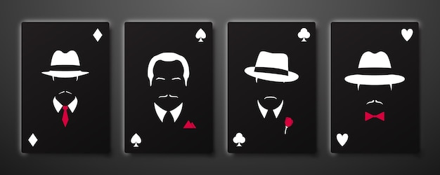 Vier asse mit mafia-männern-silhouetten.
