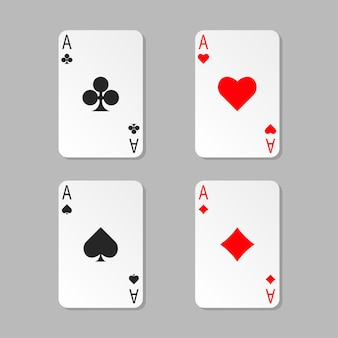 Vier asse pokerkarten isoliert. spielkarte mit schatten.