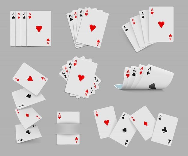 Vier asse spielkarten gesetzt