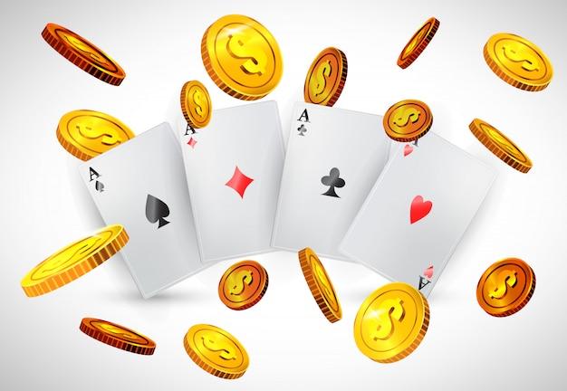 Vier asse und fliegende goldene münzen. casino-business-werbung