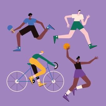 Vier athletische männer, die sport treiben