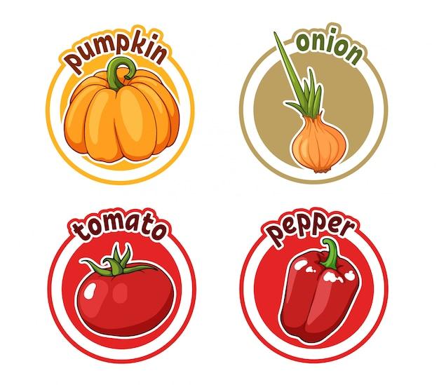 Vier aufkleber mit unterschiedlichem gemüse. kürbis, zwiebel, tomate und pfeffer.